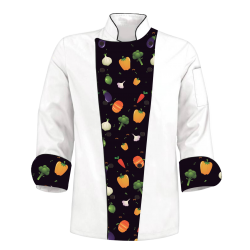 Printed Chef's Coat Jacket - Onion Pumpkin - Black White - Custom