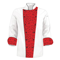 Printed Chef's Coat Jacket  - Red Kitchen - Custom