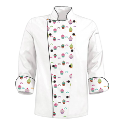 Printed Chef's Coat Jacket - Cupcakes - Custom - White