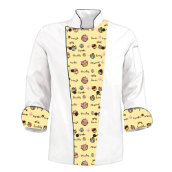 Printed Chef's Coat Jacket- Cupcakes Yellow  White - Custom