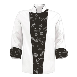 Printed Chef's Coat Jacket - Fruits Black White - Custom