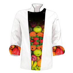 Printed Chef's Coat  - Gradient Fruits