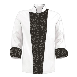 Custom Printed Chef's Coat Jacket - Chef Tools - Black White
