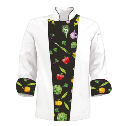 Custom Printed Chef's Coat Jacket - Vegetables Colorful - White Black