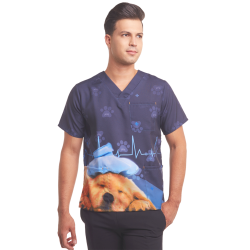 Custom Men's Printed Scrub Top - Puppy - Blue