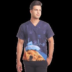 Printed Men's Scrub Top - Puppy - 3 Pocket