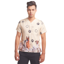 Men's Printed Scrub Top - Paws, 3-Pockets