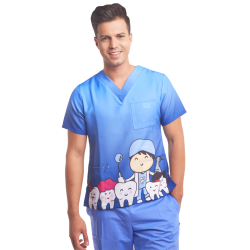 Men's printed scrub top dentist  teeth blue
