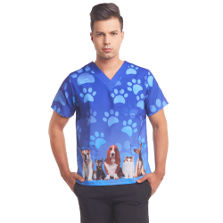 Men's printed scrub top blue paws puppy dogs