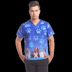 Men's Printed Scrub Top - Dogs, 3-Pockets