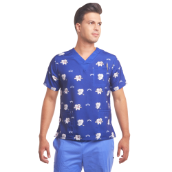 Men's printed scrub top funny teeth blue dentist