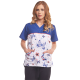 Women's printed scrub top - butterflies - blue pink