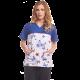 Women's printed scrub top - butterflies - blue pink