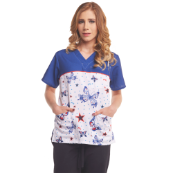Women's Printed Scrub Top - Butterflies - 3-Pocket