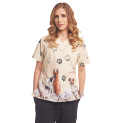 Women's Printed Scrub Top - Paws - 3 Pockets