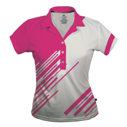 Polo Dry Fit de Mujer, Blanco & Rosa