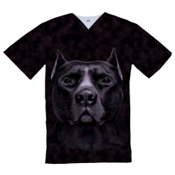 Personalized Medical Top, black Pitbul