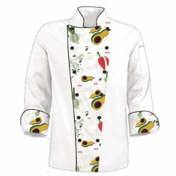 Custom Printed Chef's Coat Jacket - Avocado Pepper