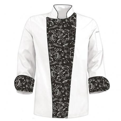 Printed Chef's Coat - B&W Chef Tools